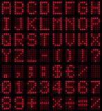 Fonte tipografica rossa della visualizzazione di LED Immagine Stock Libera da Diritti