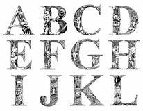 Fonte tipografica terribile Immagini Stock
