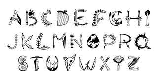 Fonte tirada m?o da arte Letras bonitos da paleontologia ilustração do vetor