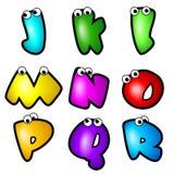 Fonte Type_Letter J à R de dessin animé Image stock