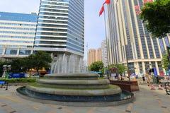 Fonte urbana da vista da noite da cidade de shenzhen fotos de stock royalty free