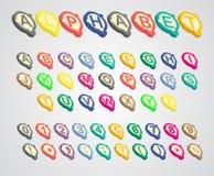 Fonte variegata isometrica di alfabeto Immagini Stock