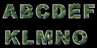 Fonte verde do parque com beira de avaliação em unidades cúbicas cinzenta no preto ilustração royalty free