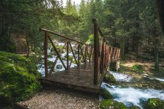 Fontegreca Forest Bridge, Italy. A bridge leading the way up a footpath in the Fontegreca Forest in Campania, Italy.  It is a cloudy afternoon full of mist and Stock Images