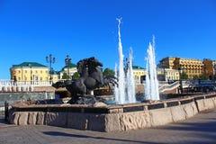Fontein in Alexander Garden dichtbij Moskou het Kremlin Stock Afbeeldingen