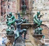 Fontein bij het Kasteel van Frederiksborg, Denemarken Stock Foto's