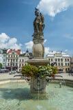 Fontein in Cieszyn, Polen royalty-vrije stock fotografie