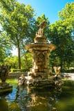 Fontein in de Botanische Tuinen in Aranjuez royalty-vrije stock afbeelding