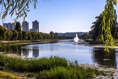Fontein in de rivier Stock Foto