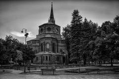 Fontein in de stad van Bydgoszcz, Polen stock fotografie