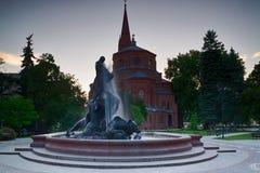 Fontein in de stad van Bydgoszcz, Polen stock afbeeldingen