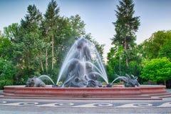Fontein in de stad van Bydgoszcz, Polen stock afbeelding