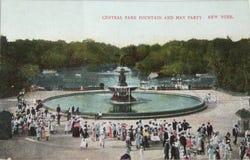 Fontein en partin van Mei in Central Park in 1905 Royalty-vrije Stock Foto