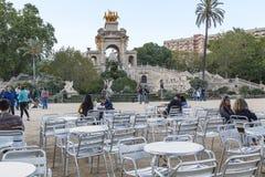 Fontein Grote Cascade in het Park van Ciutadella, Barcelona stock afbeelding