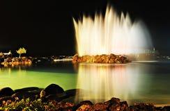 Fontein in het meer Stock Fotografie