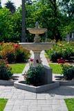 Fontein in het midden van roze tuin Stock Afbeeldingen