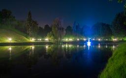 Fontein in het park bij nacht Royalty-vrije Stock Afbeeldingen