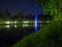 Fontein in het park bij nacht Royalty-vrije Stock Foto's