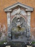 Fontein met weinig water van het draakspuwen en een witte zwaan in Rome stock fotografie