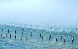 Fontein in mist royalty-vrije stock afbeeldingen