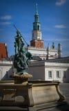 Fontein Neptunus en stadhuis royalty-vrije stock foto's