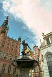 Fontein Neptunus in Gdansk. Stock Foto