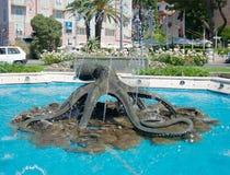 Fontein op de strandboulevard, Rapallo, Italië Stock Fotografie