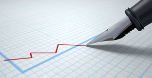 Fontein Pen Drawing Declining Graph royalty-vrije stock afbeelding
