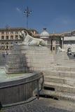 Fontein in Piazza del Popolo Rome Royalty-vrije Stock Foto's