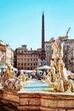 Fontein van de Fontein van Neptunus van vier Rivieren in Piazza Navona Royalty-vrije Stock Foto's