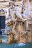 Fontein van de Vier Rivieren op Piazza Navona, Rome Stock Afbeeldingen