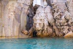 Fontein van de Vier Rivieren op Piazza Navona, Rome Stock Fotografie