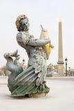 Fontein en Obelisk, Parijs Stock Foto