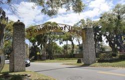 Fontein van Ingang van het de Jeugd de Archeologische Park, Heilige Augustine, Florida royalty-vrije stock foto