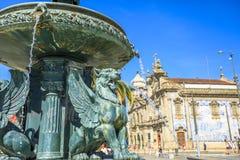 Fontein van Leeuwen Porto royalty-vrije stock fotografie