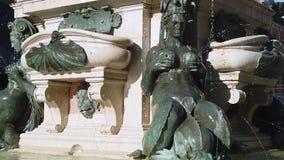 Fontein van Neptunus, Bologna, Italië stock videobeelden