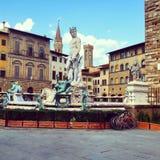 Fontein van Neptunus in Florence, Italië Stock Afbeeldingen