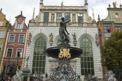 Fontein van Neptunus in Gdansk, Polen Stock Afbeeldingen