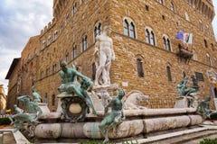 Fontein van Neptunus op het Signoria-vierkant, (Piazza della Signor stock fotografie