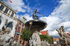 Fontein van Neptunus in oude stad van Gdansk Stock Foto