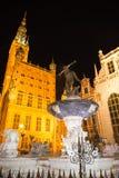 Fontein van Neptunus in oude stad van Gdansk, Polen Stock Foto