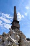 Fontein van vier die rivieren door Bernini worden ontworpen. Stock Foto