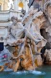 Fontein van Vier Rivieren bij Piazza Navona, Rome Ita Royalty-vrije Stock Afbeelding