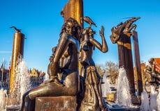 Fontein in vierkante t'Zand in Brugge, België Royalty-vrije Stock Afbeelding