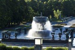 Fontein in Vigeland-Park, Oslo, Noorwegen royalty-vrije stock foto's