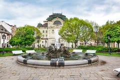 Fontein voor het Theater van de Staat bij Hoofdvierkant in Kosice SLOWAKIJE royalty-vrije stock fotografie