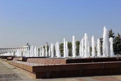 Fonteinen bij Poklonnaya-Heuvel in Moskou Royalty-vrije Stock Foto's