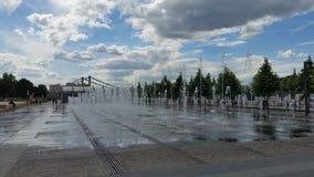 Fonteinen in het Park van Gorky in de zomer royalty-vrije stock foto