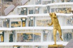 Fonteinen van Petergof, Heilige Petersburg, Rusland Stock Afbeelding