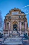 Fonteinsaint-michel in Parijs, Frankrijk stock afbeelding